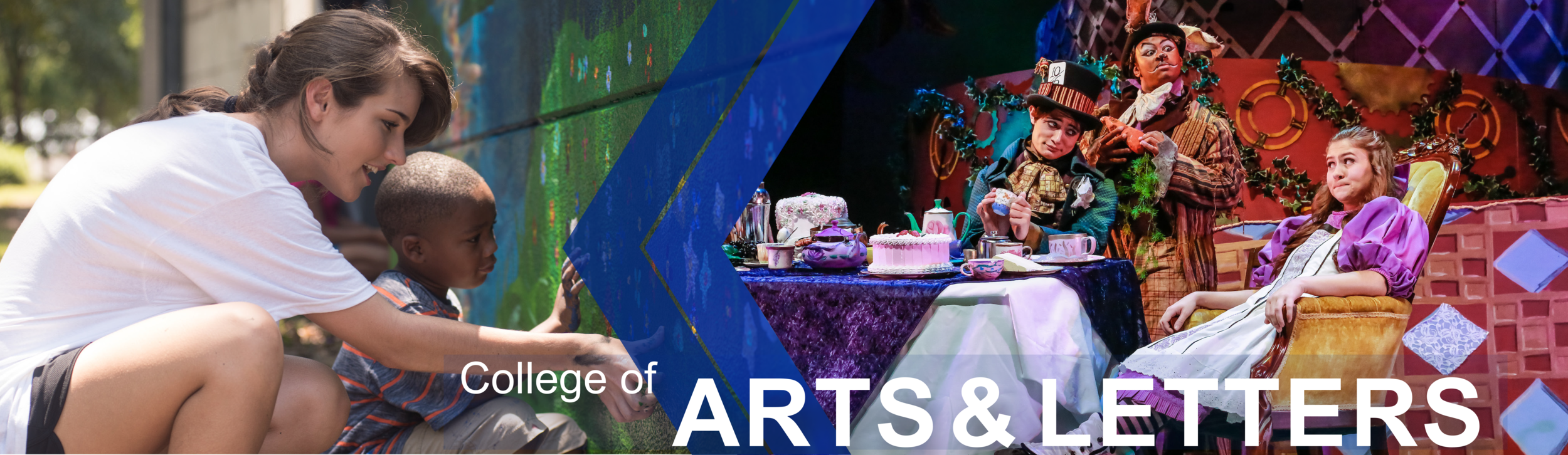 College of Arts and Letters page banner: Features a University of North Georgia art student helping a child paint a wall in the community. Also featured is a photo from the play Alice in Wonderland performed by University of North Georgia theater students.