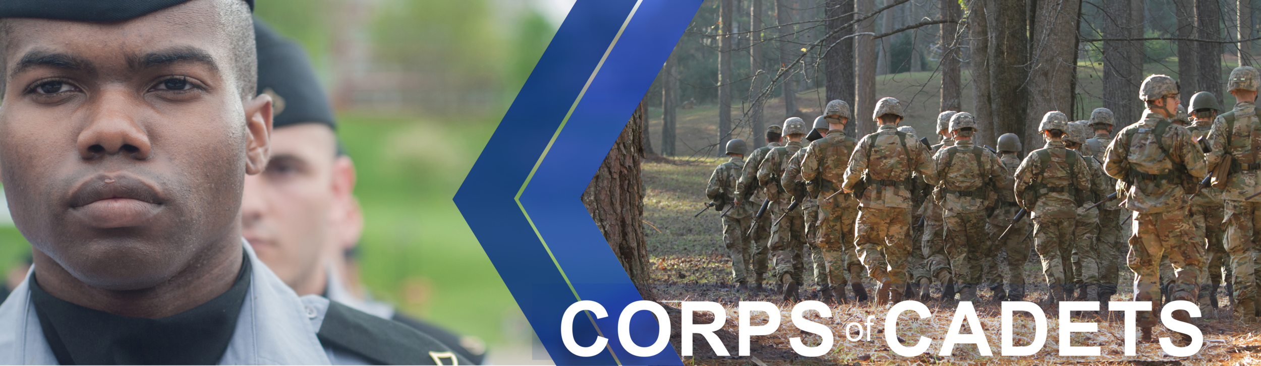 Corps of Cadets page banner: Features a close up photo of a male corpsman. Second Image shows Corps of Cadets members walking as a group through the woods.