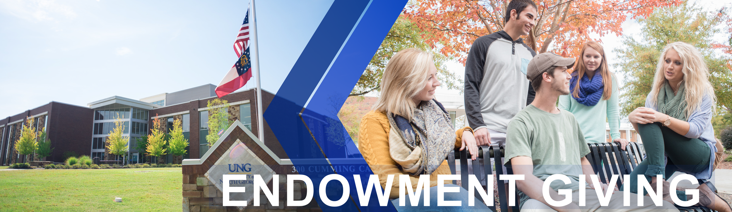 Endowment Giving page banner features a front view a building on the University of North Georgia Cumming Campus. Second image shows a group of students sitting on a bench outside while talking to each other.