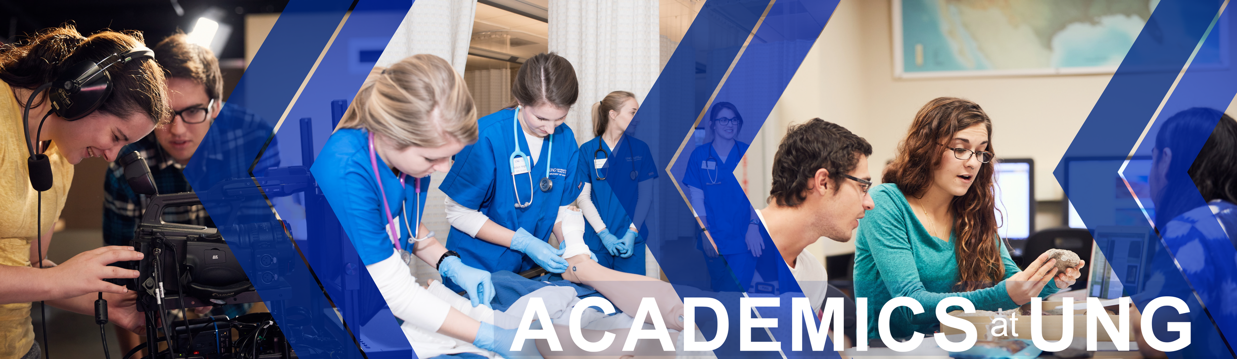 Colleges of the University of North Georgia page banner: Features Image 1: Film students working with a camera. Image 2: Nursing students learning how to bandage a foot. Image 3: Geography students examining a rock.