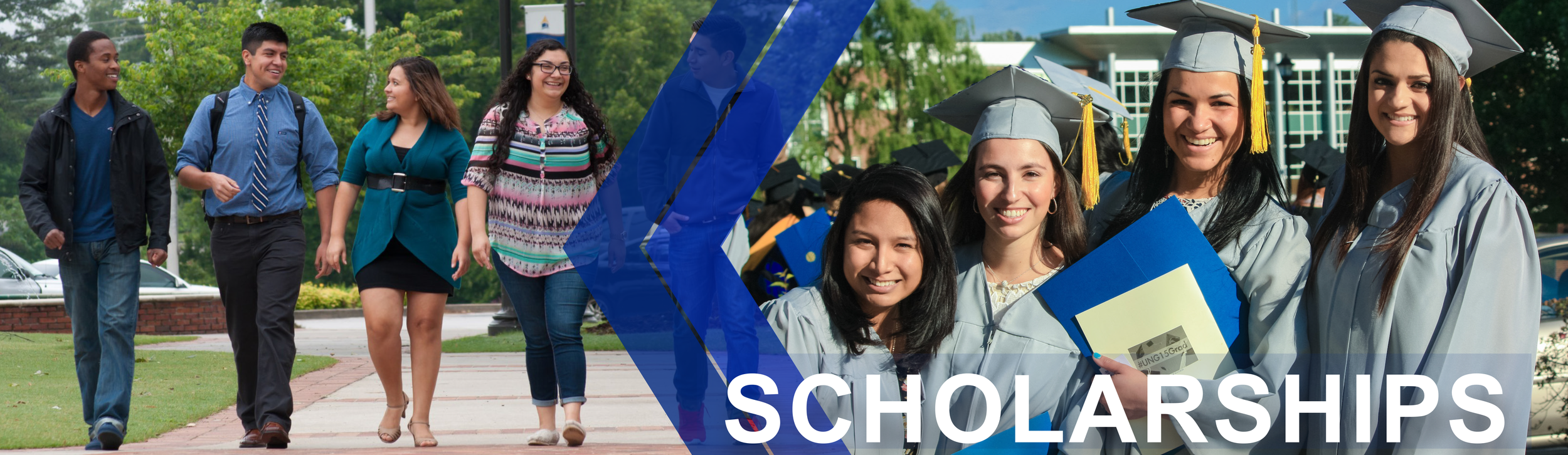 Scholarship page banner features a photo of students walking outside across the University of North Georgia Gainesville Campus. The second image shows four girls posing for a graduation photo while wearing their grey cap and gowns.