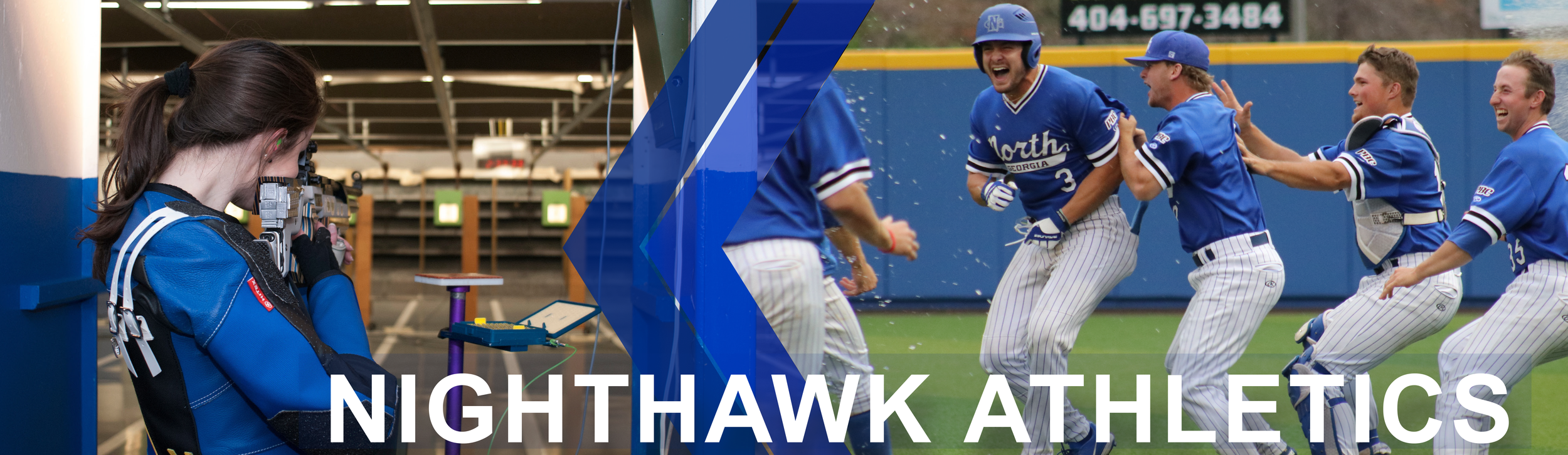 Nighthawk Athletics page banner: Features female rifle team member shooting at a target. Image 2 shows a group photo of the University of North Georgia baseball players celebrating a win.