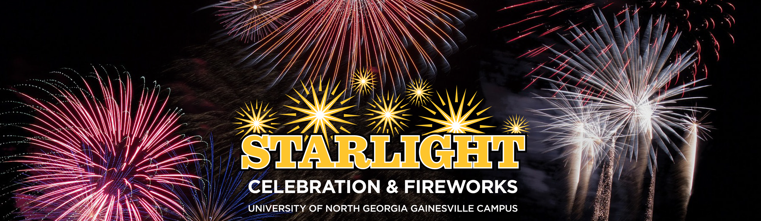 Page banner for Starlight Celebration & Fireworks at the University of North Georgia Gainesville campus.