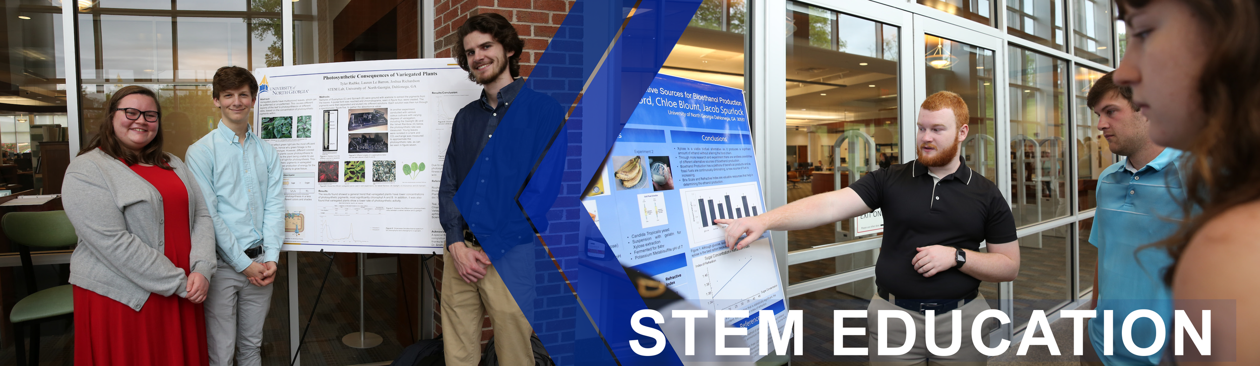 Stem Education Header banner: First image shows three STEM education students standing in front of a poster board. The second image shows a STEM education student explaining his project.