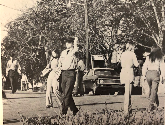North Georgia students walk on the campus in 1975.