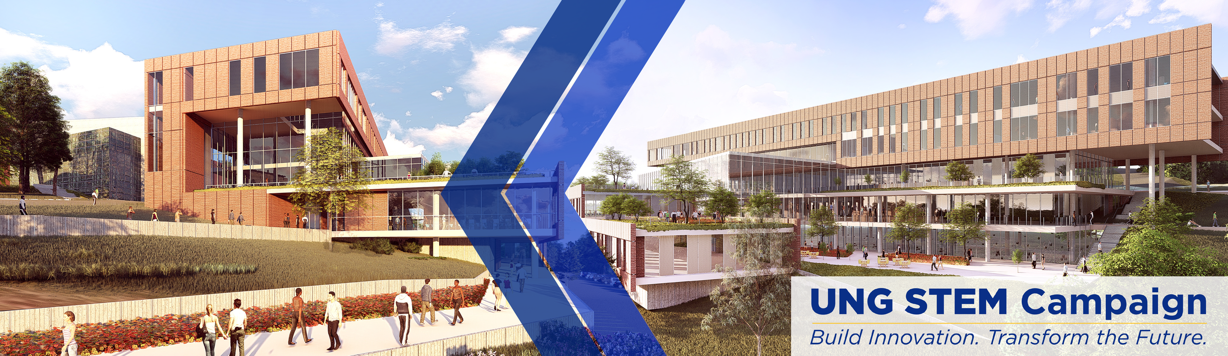 STEM Building page banner: Images show a different sketches of what the STEM building will look like when it's built.