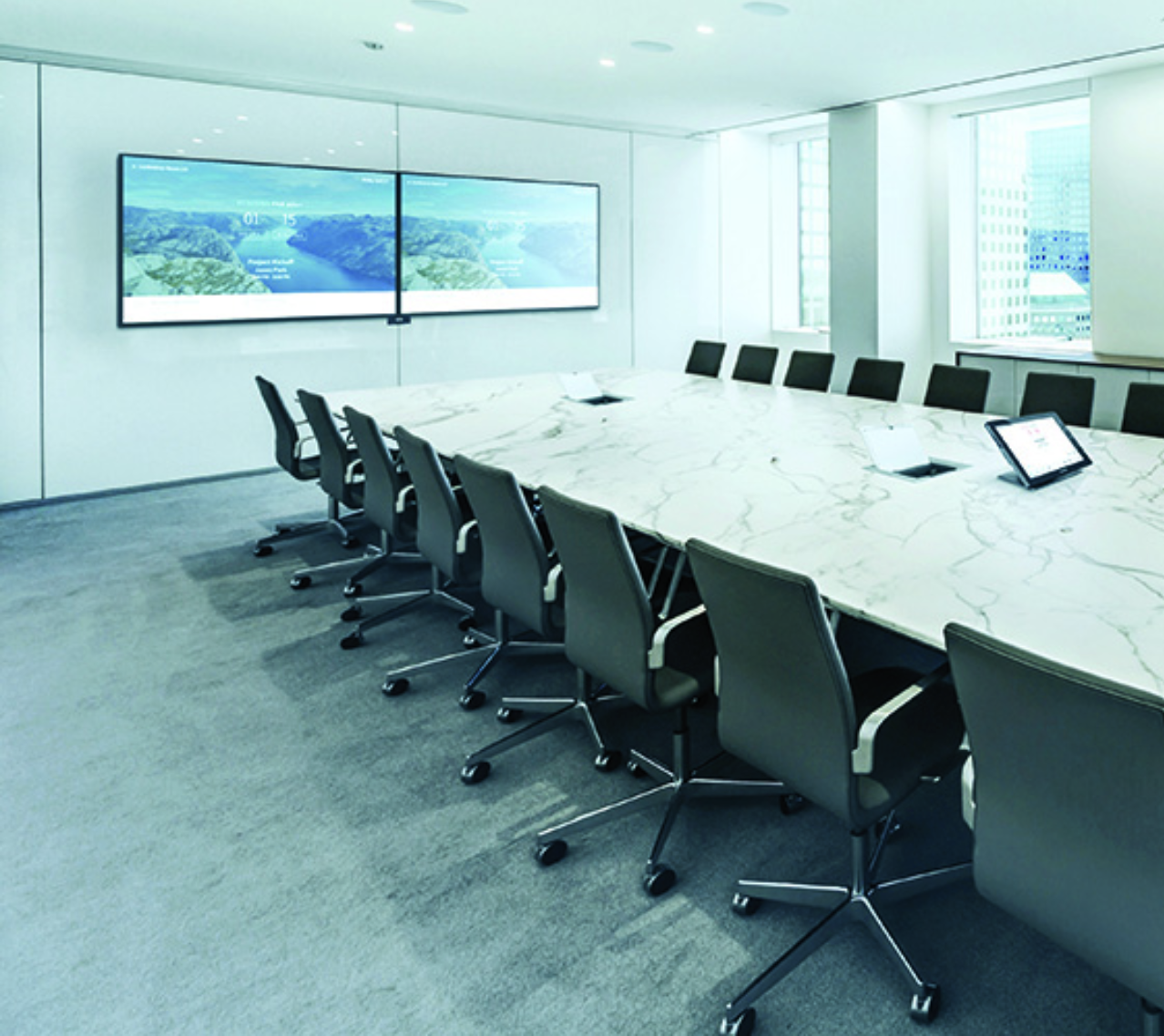 Presentation Conference Room - Empower larger meetings in dual-display presentation and video conferencing rooms. Crestron integrates and controls your favorite codec and makes it easy to book rooms, start meetings, share content, collaborate, and control the entire room from a single, intuitive touch screen interface.