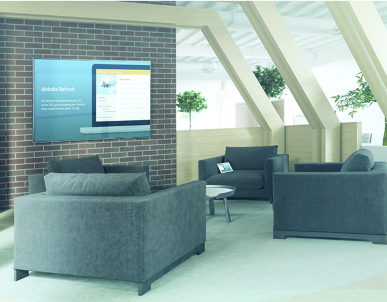 Open Presentation SpaceOpen Presentation Space - Increase workflow and facilitate collaboration by turning lobbies, lounges, and other open spaces into productive meeting spaces.