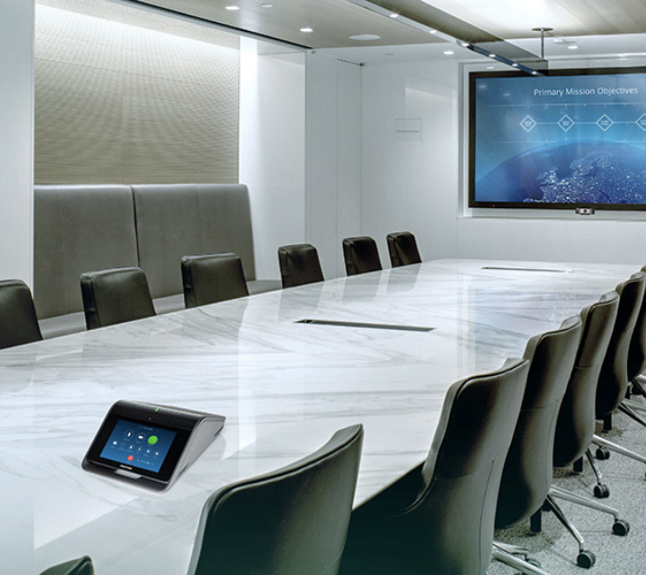Large meeting room powered by Creston Mercury