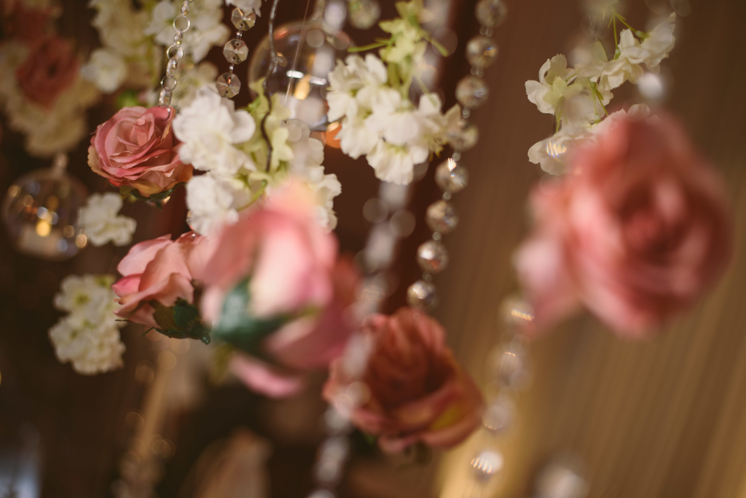 The Colour Palette - We tend to use accents in your chosen colour scheme as it's more impactful and creates an elegant look.The colour palette used a base of floral white with accents of blush pink and gold throughout the event, with pinspot lighting highlighting each and every piece.