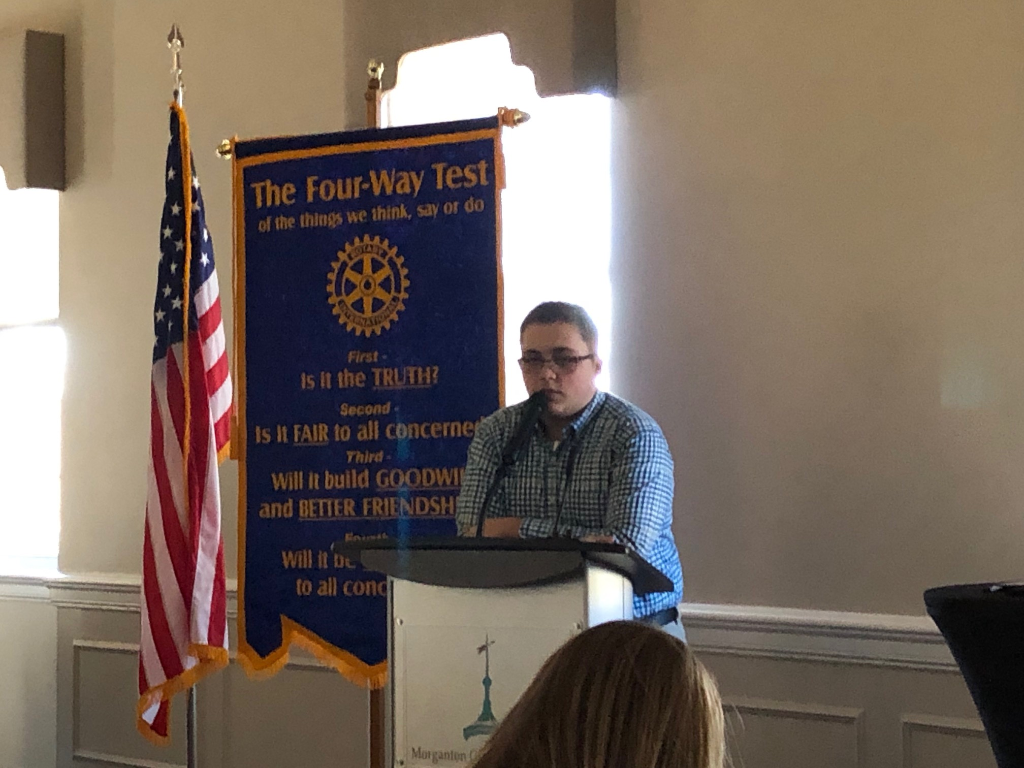 Guest speaker Bradley Lail shares his experience at RYLA camp to Rotary Club of Morganton.