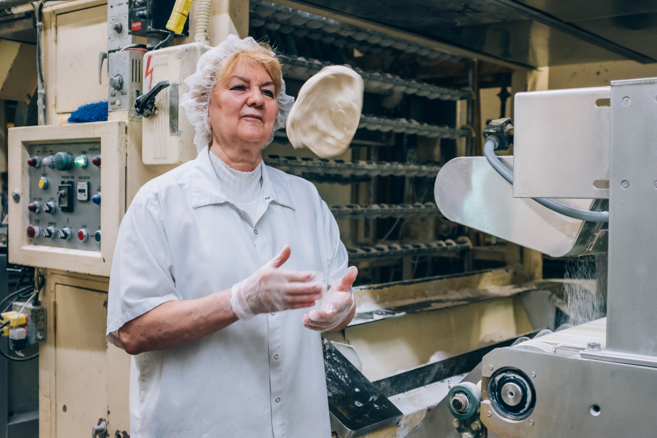 Mrs. Alexandra has been making Pita Bread here for 40 years