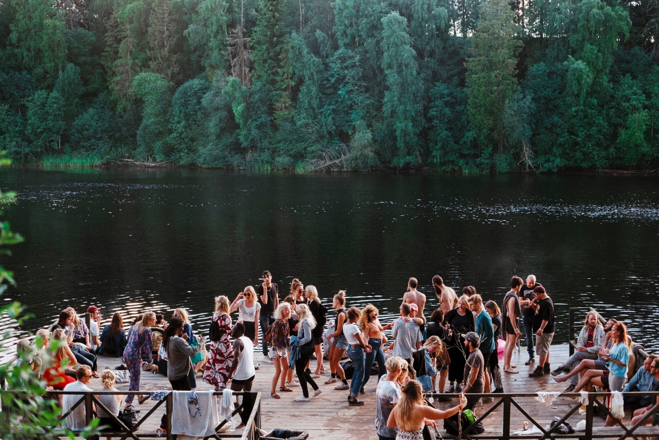a party by a lake