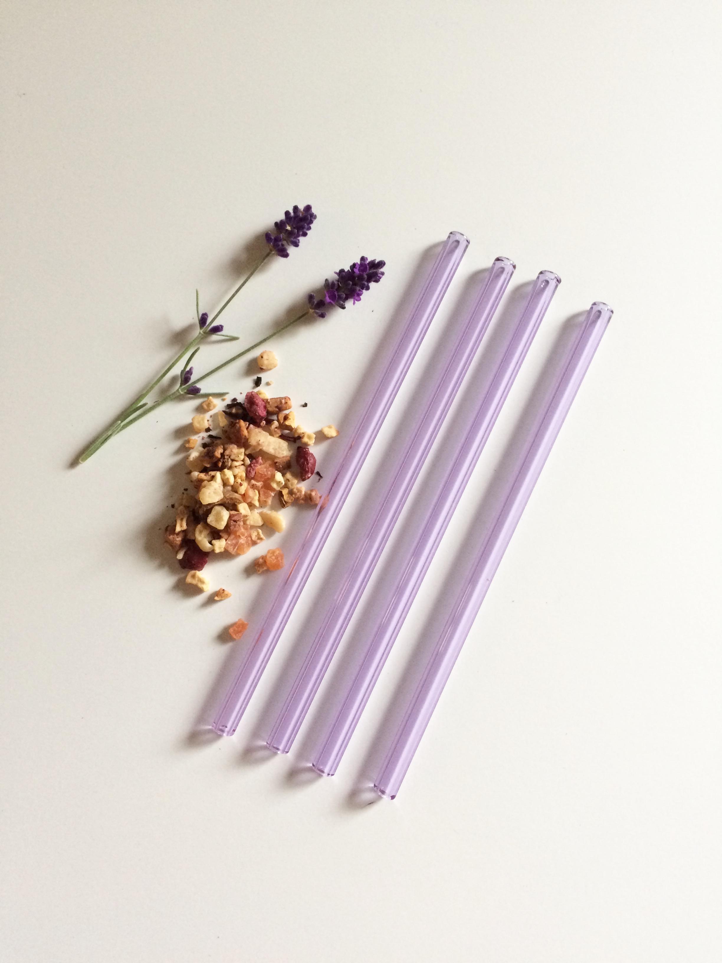Lavender Drinking Straws Glass - Brook Drabot Glass