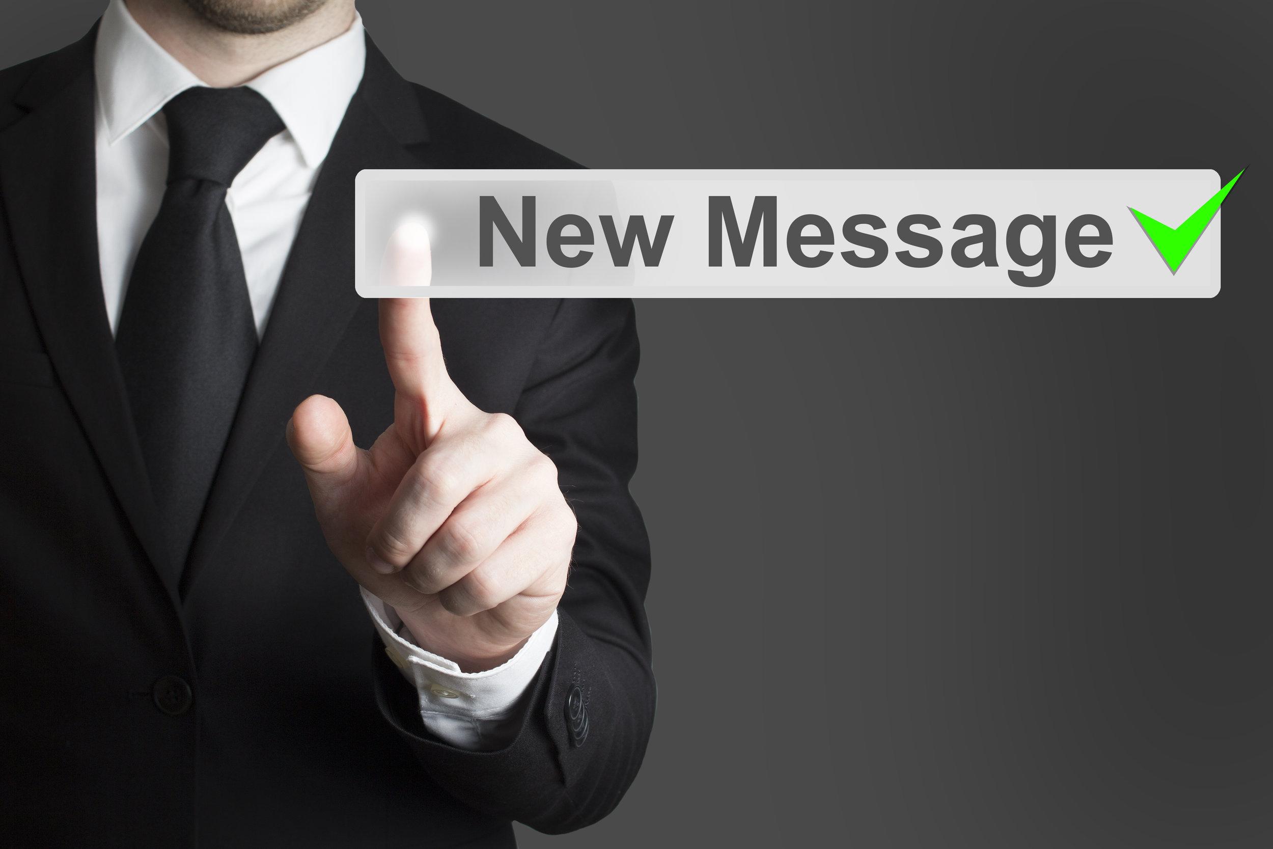 businessman pushing flat touchscreen button new message