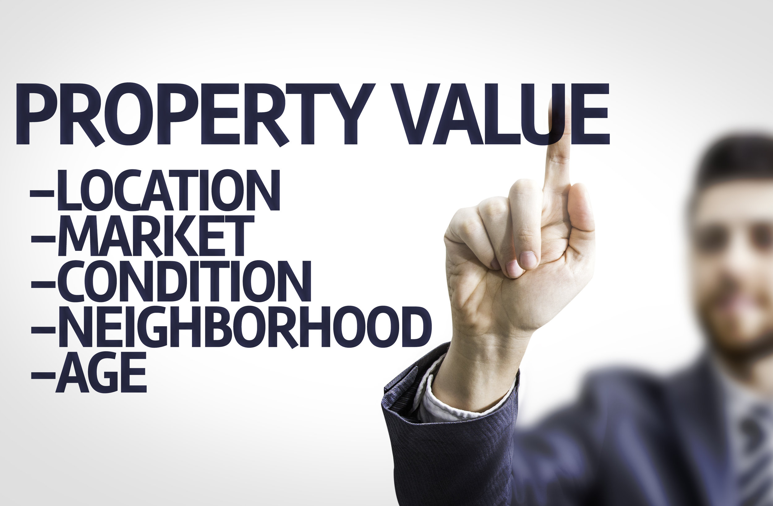 Business man pointing the text: Property Value