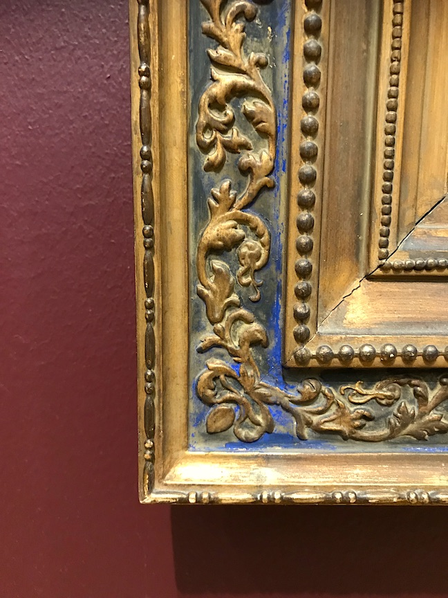 Lapis Blue Bole on a water gilded frame.
