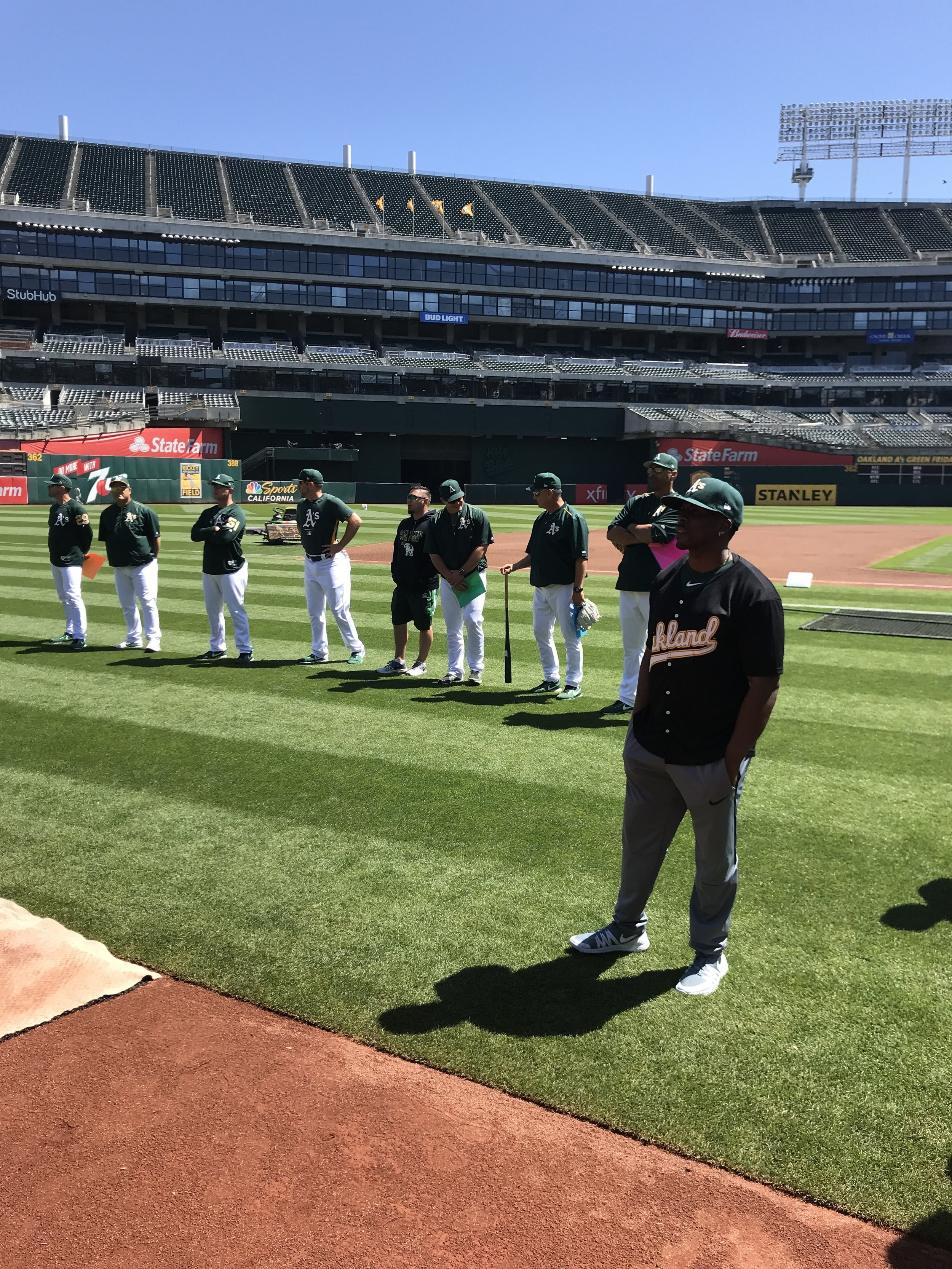 Archie + A's Coaching Staff @ A's Youth Baseball Clinic 04/21/18