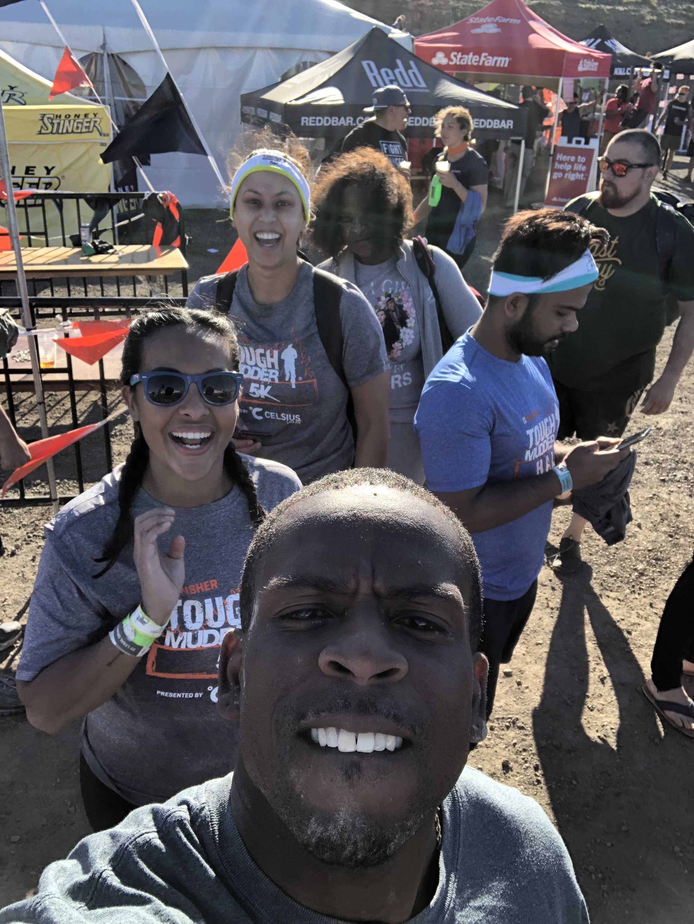 Archie, Erika, Tina & Denise are all smiles after finishing the Tough Mudder!