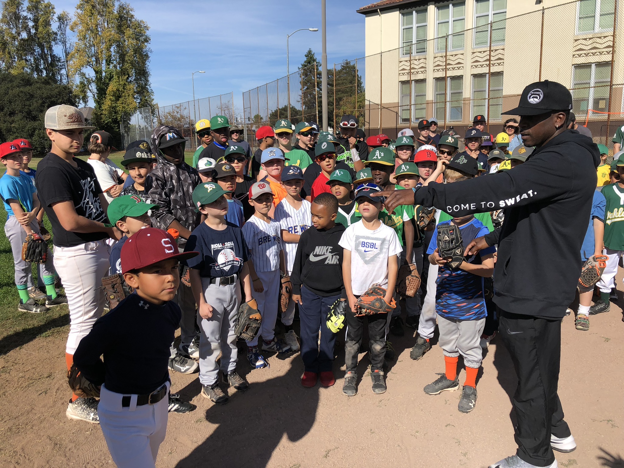 REGISTER NOW! 4th Annual FallBaseball Clinic - On October 26th, join AG Fitness for its fourth-annual fall clinic! Enjoy a day of training and drills led by former MLB player Jemile Weeks.Click here to register. This camp will reach capacity, so be sure to register ASAP!Date: Saturday, October 26, 2019Time: 11:00 am - 12:30 pmWhere: Robert Mason Baseball Field (San Pablo Blvd. @ 62nd St. Emeryville, CA)Ages: No age limit!What to Expect:- Hands-on coaching from former professional baseball players, including Jemile Weeks, with more players to be announced soon!- Professional warm-up routine- Drills for skill (for correct running form)- Agility ladder- Cone drills- Shoulder programs (to strengthen throwing arm)- Tee work- Soft toss- Live BP- Hitting evaluation- Ground balls- Glove work- Goodie bags (distributed post-clinic)- TONS ON FUN!!!What to Bring:- Workout attire- Cleats- Baseball glove- Batting gloves- Baseball bat- Water