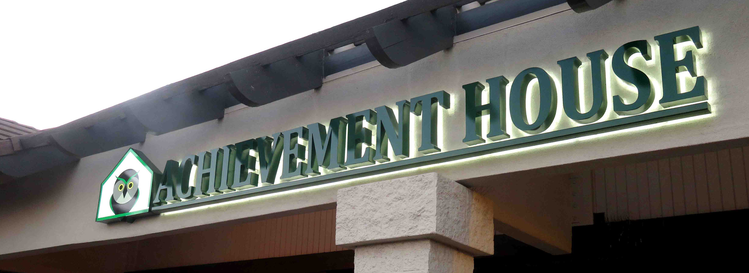 This sign was installed and produced by brick signs. This is a halo lit LED sign.