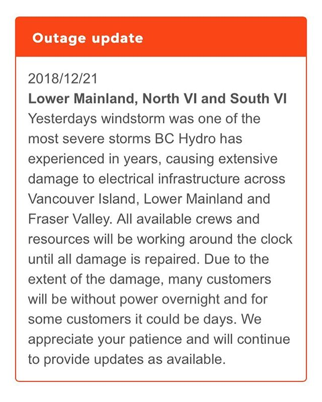 Thank you to all the crews that will be slugging it out to get us restored and warm! We were not able to bake this morning, but all this considered that's a small issue. We will keep everyone updated with when we will be open again after the power is back. Stay warm #Tofino #poweroutage #tourismtofino #yourtofino #unexpecteddayoff