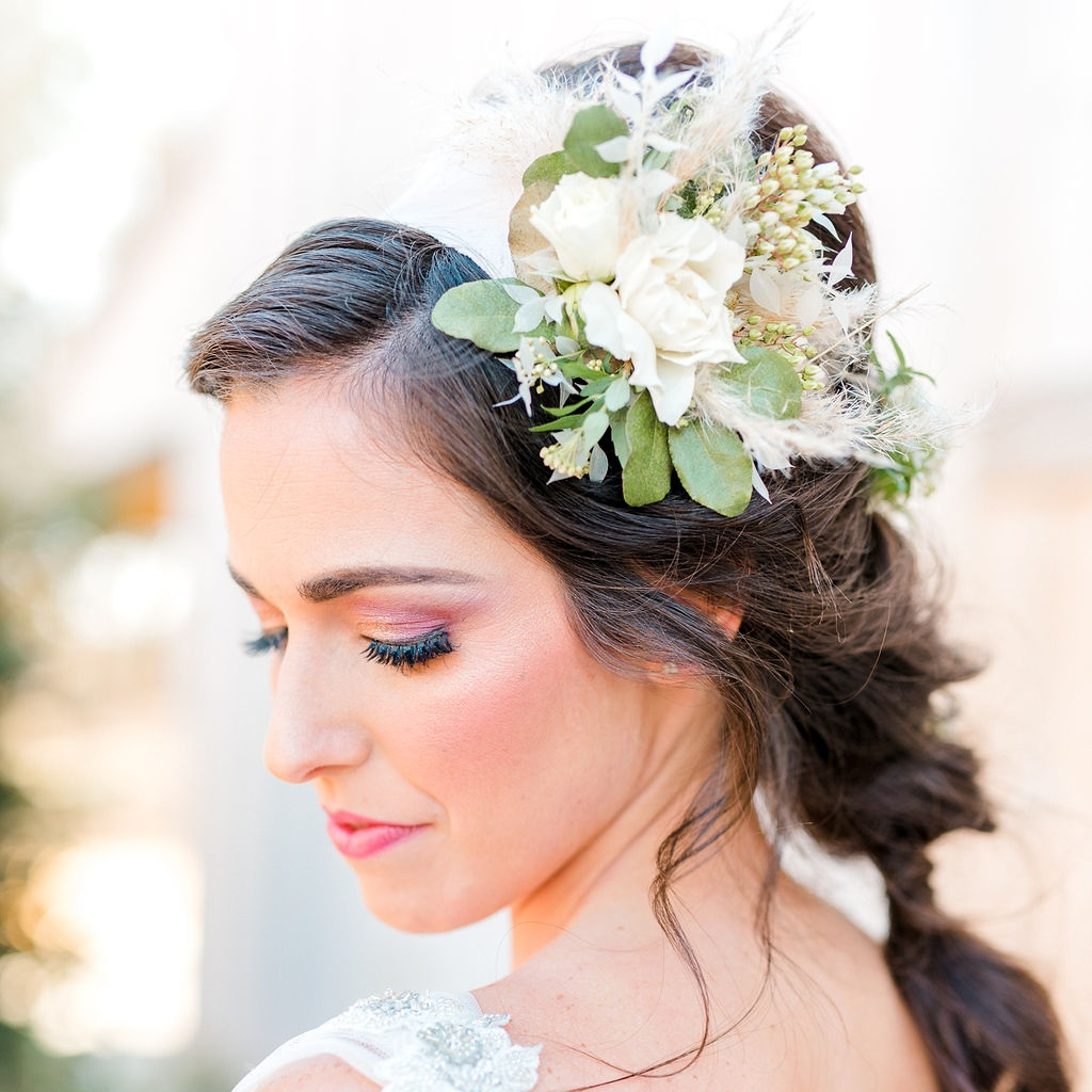Just a touch of pampas, tucked into a bridal head piece. Photo:  Kaitlyn Blake Photography