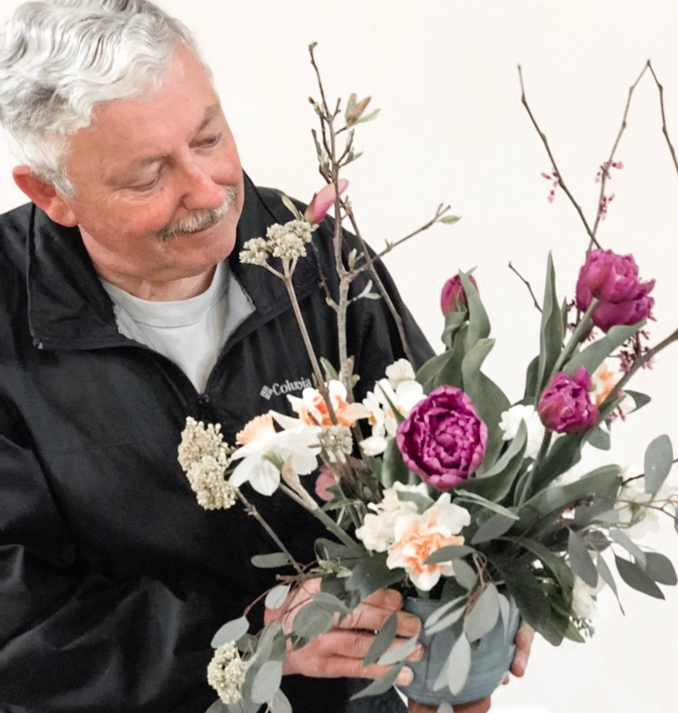 My dad, who has Parkinson's disease, loves coming out to our workshops and creating flower arrangements! Proceeds from our farm honey benefit Parkinson's research.