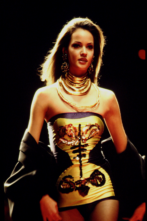 Me on the runway for Christian Lacroix. The fit of the dress as well as the pattern reminds me of my body brace.