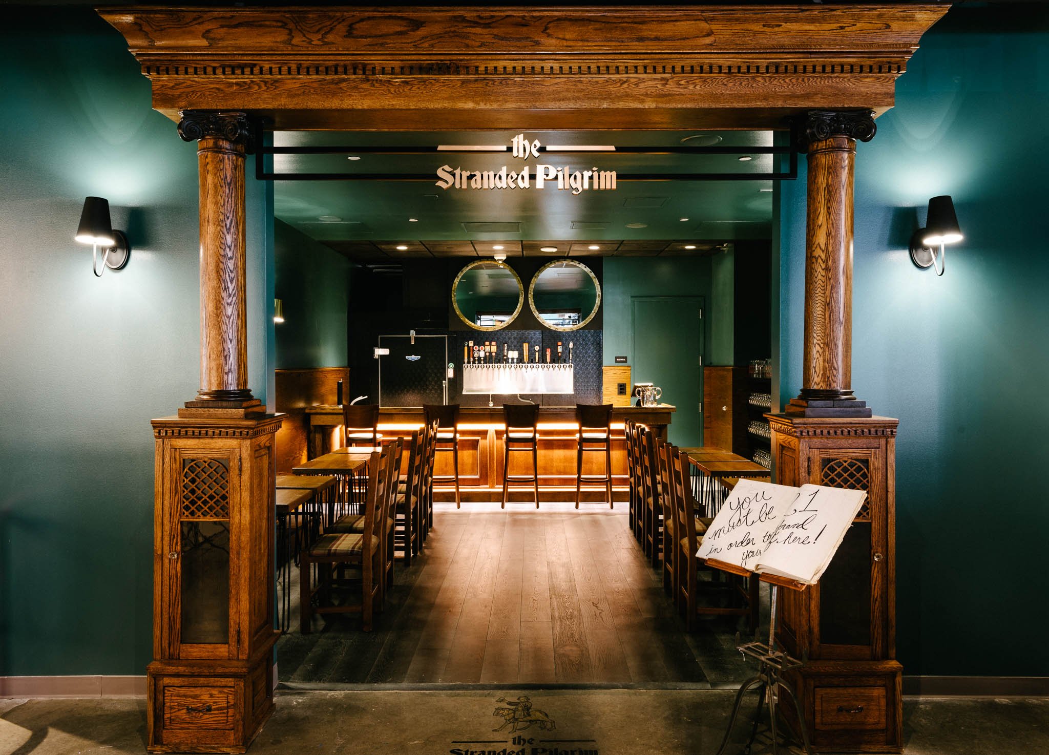 Stranded Pilgrim - With cozy booth seating and an antique bar top, smallgroups will enjoy their time in the only private area ofDenver Milk Market. A/V is included in Stranded Pilgrim.Capacity: 10-28 people