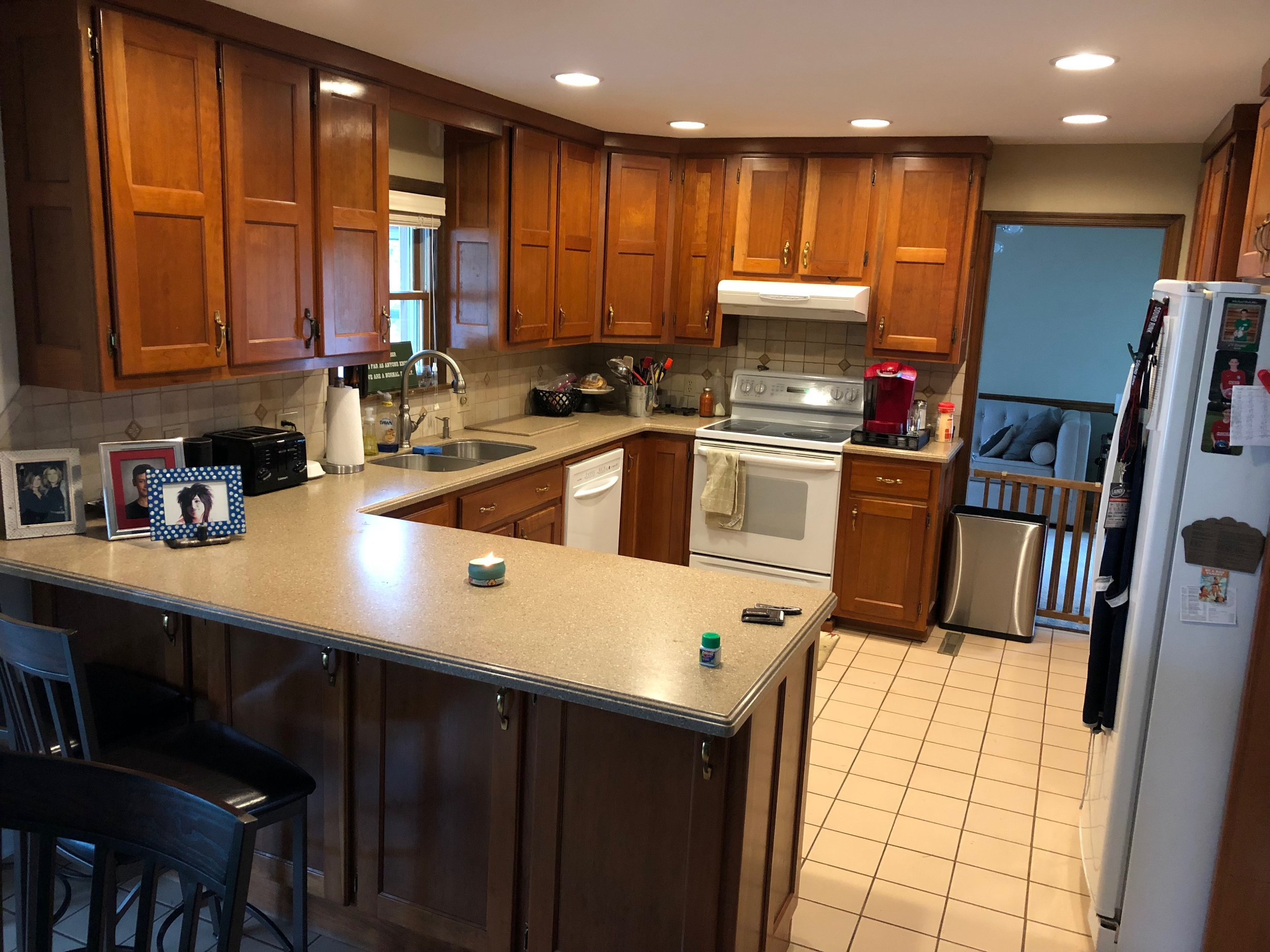 Before - professional kitchen cabinet painting in Hummelstown Pa