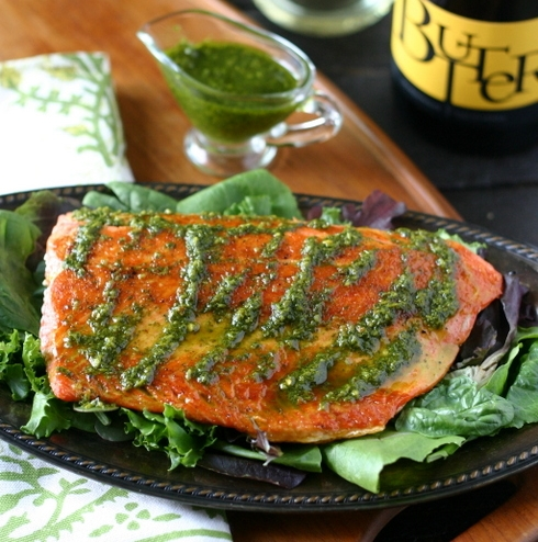 Everyday Maven'sCilantro Turmeric sauce - Serve on top of roasted salmon with sweet potatoes or salad