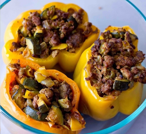 Sweet C'sChorizo stuffed pepPers - Can add cauliflower rice and cut up peppers for a next day lunch scramble