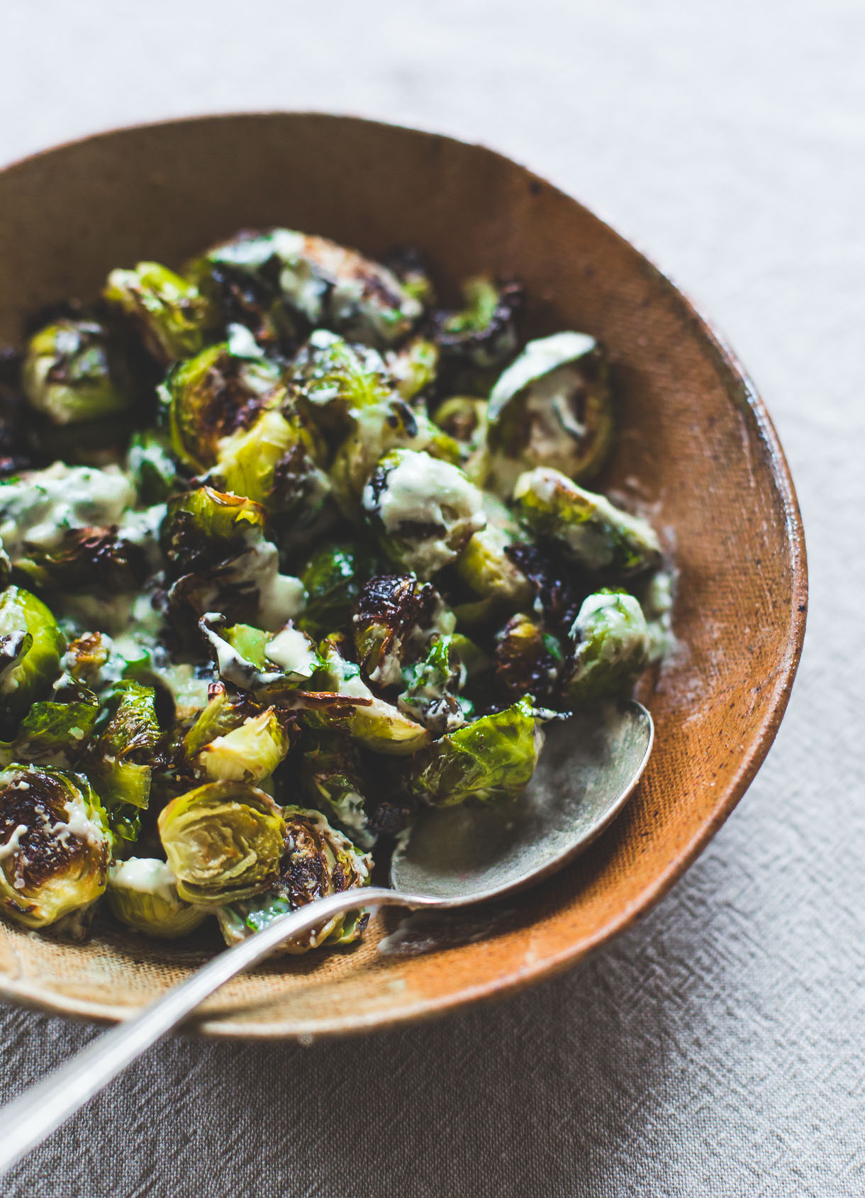 Roasted Brussels Sprouts with Lemon garlic tahini  - Recipe from: Heartbeet KitchenShe mentions here that tahini costs $10.. Trader Joes sells it for under $4.