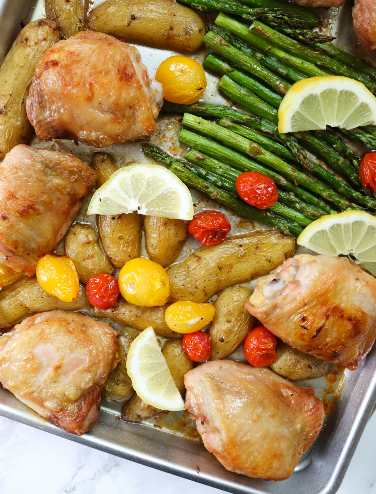 Sheet Pan Chicken with asparagus - Recipe by: From Pasta to Paleo Add arugula for a salad