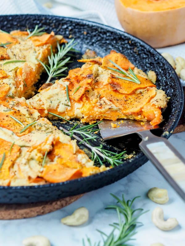 VEGAN BUTTERNUT SQUASH GRATIN WITH CREAMY ROSEMARY CASHEW CREAM - Recipe by: Avocado Pesto This is a vegan recipe that calls for hemp seeds. Flax is more common and I recommend just getting those! You can add them to your morning smoothies