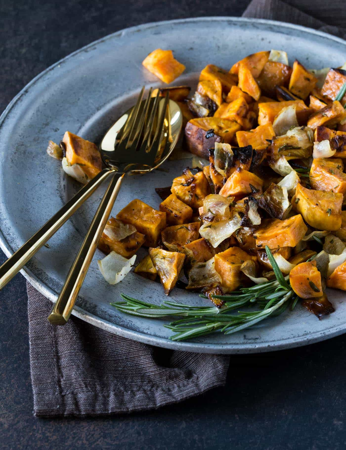 Roasted sweet potatoes  - Recipe by: Garnish by LemonUse these as a base for the egg hashes or as a side for the pork
