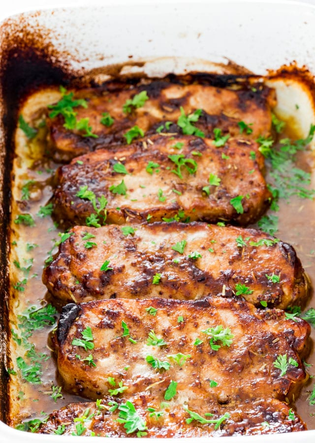 Mustard Balsamic Pork Chops with Rosemary - Recipe by: Jo Cooks Roast the fingerling potatoes with oregano, salt, and pepper as a side