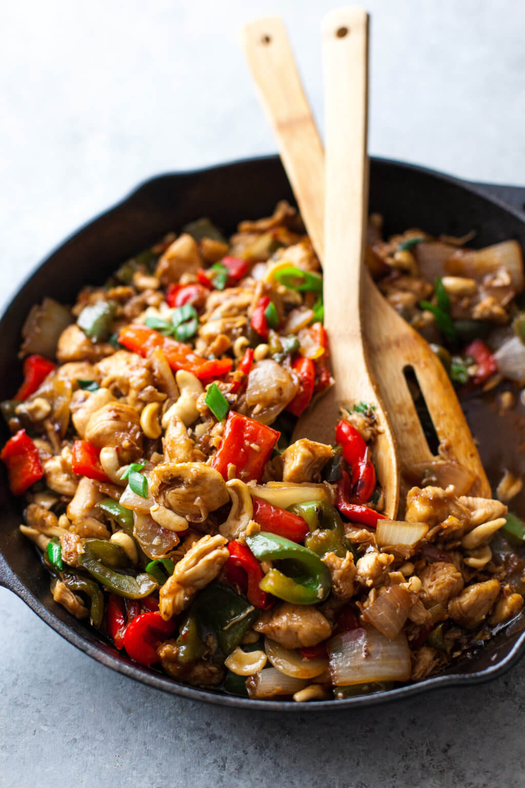 Paleo cashew chicken - Recipe by: My Natural FamilyI love how quick and easy this recipe is. Can use almond flour instead of arrowroot starch. I added an egg to the flour to coat the chicken.Omit the honey for Whole30
