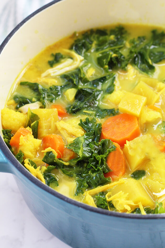 Anti-inflammatory soup - Recipe by: Unbound Wellness As she says, you can sup out the coconut cream for more bone broth Both ginger & turmeric are great for combatting inflammation