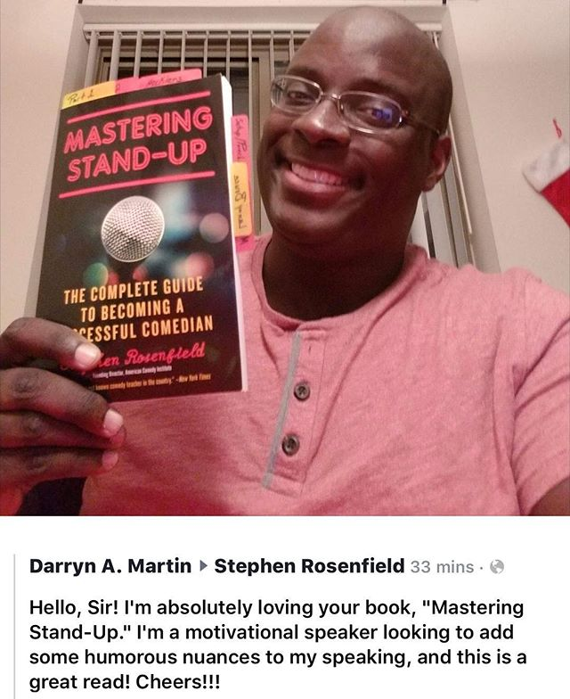 What a great way to brighten up my weekend! Thanks Darryn! . . . #masteringstandup #standupcomedy #books #bookworm #greatreads #mustread #whattoread #amazon #kindle #ebook #author #amreading #amwriting #comedy #writerslife #newbook #bookbuzz
