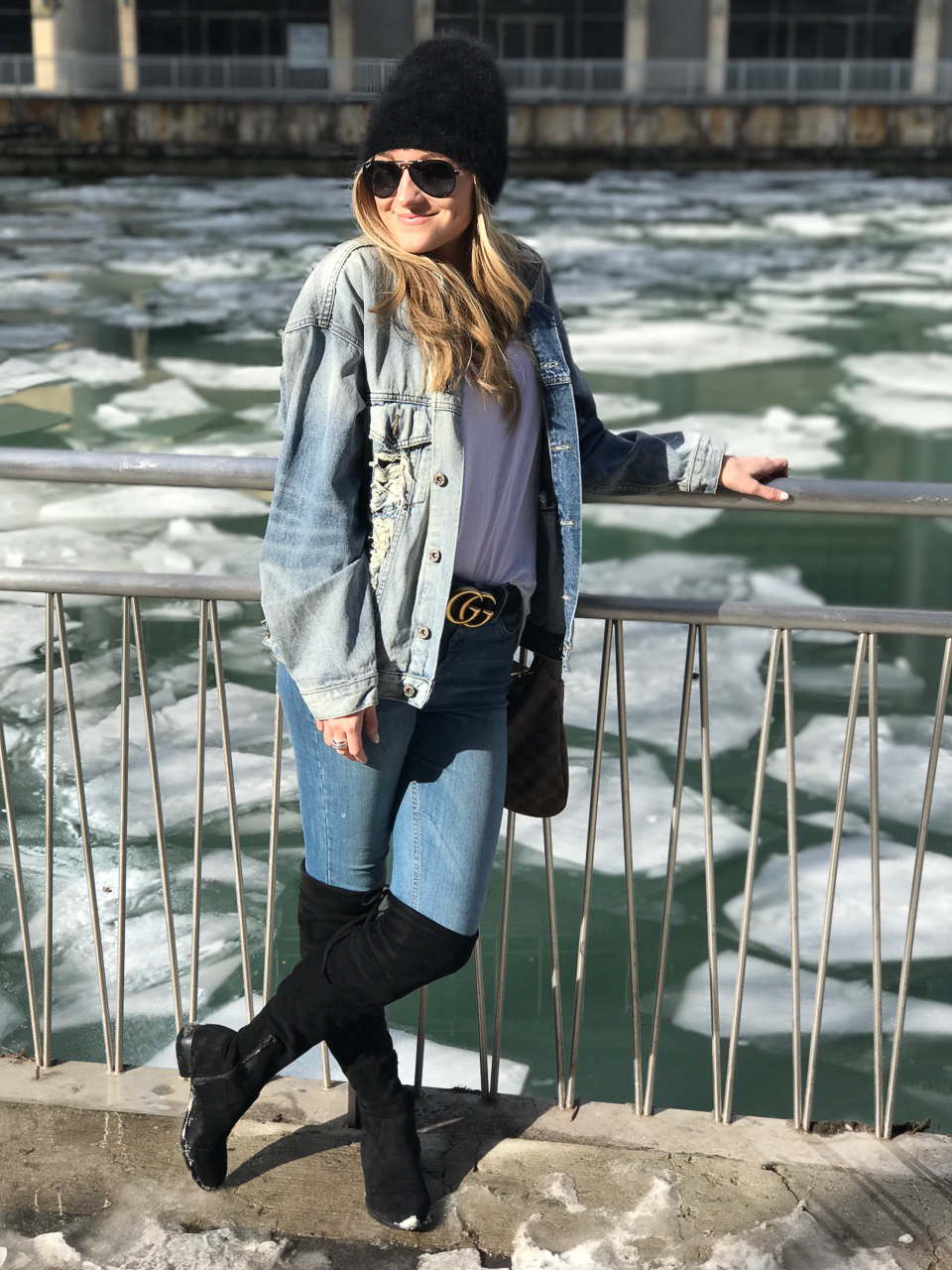 For a day time look, I paired my outfit with a chunky belt, cozy hat & over the knee boots.