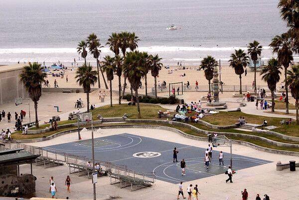 Venice: Skate. Bike. Play. Repeat. #freedom#basketball #skateboard #bikes #sports #palmtrees #sand #cali #venicebeach #socal