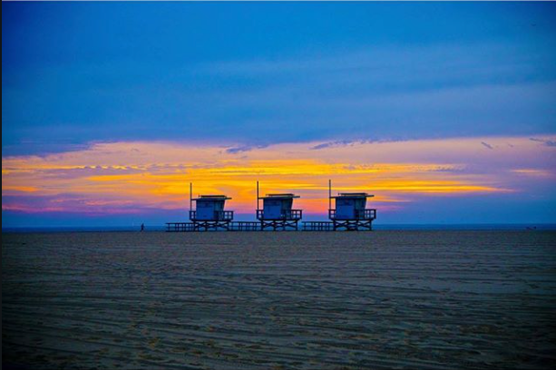 """If you looked up the word """"peaceful"""" in the dictionary, you might find an accompanying picture that looks a little like this. #venice #losangeles #cali #socal #beach #sunset #palmtrees #sand #venicebeach"""