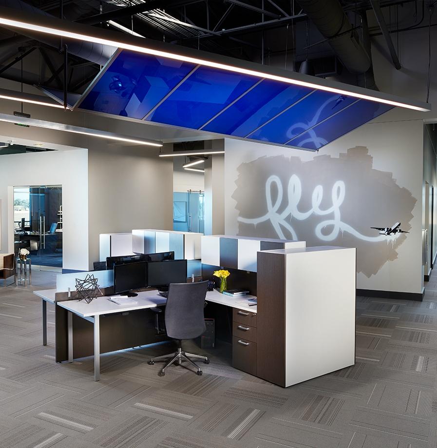 Bar Napkin Productions AvAir Headquarters Desk Space Office Interior Design