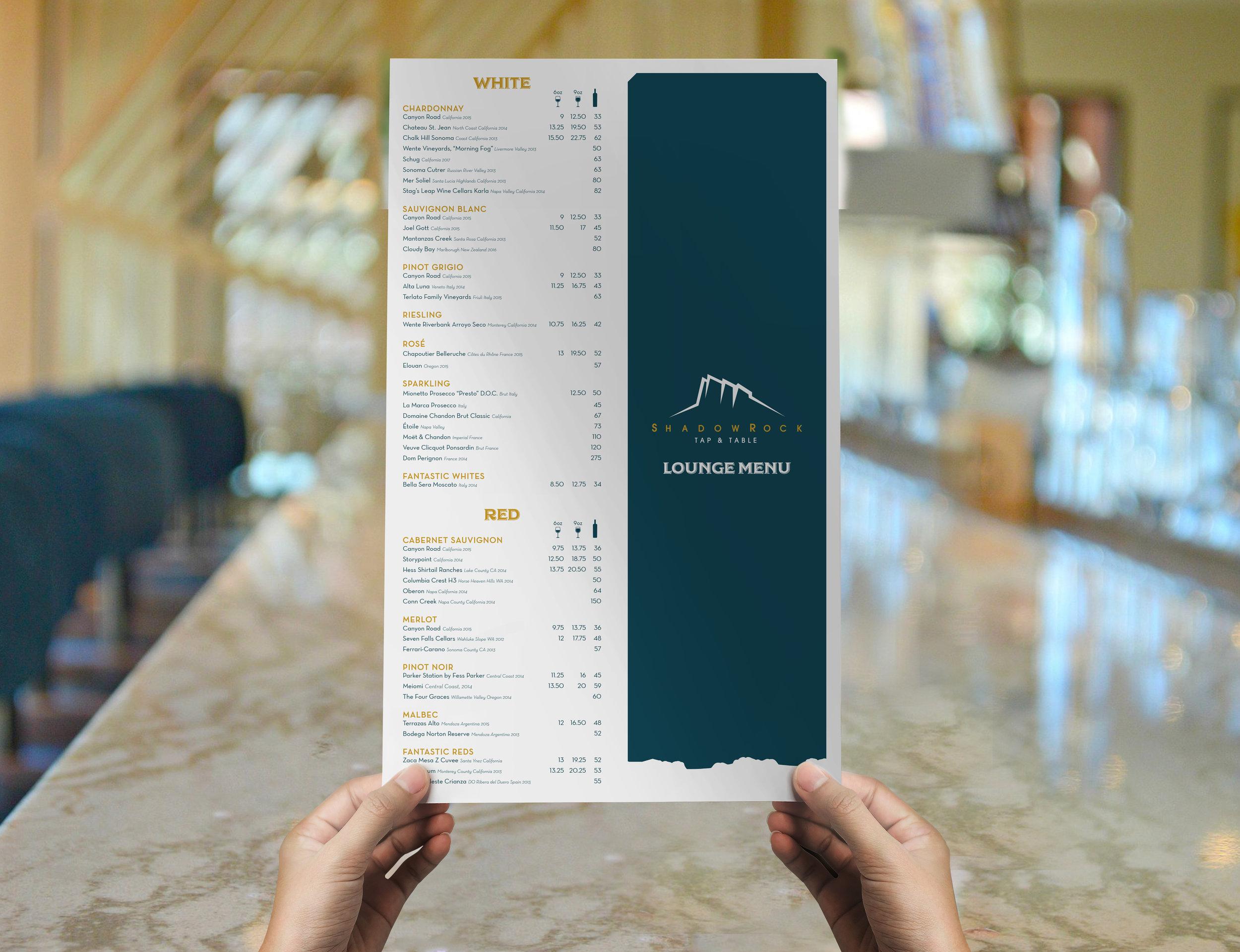 Hilton Sedona Shadowrock Tap & Table Branding Lounge Menu