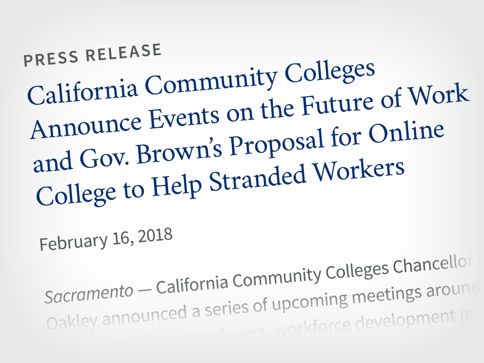 Graphic showing refreshed California Community Colleges typography