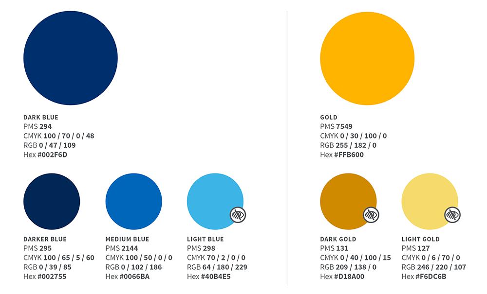 Blue and gold color palette illustration