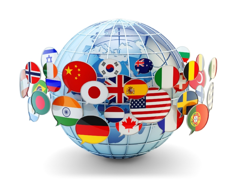 Speech bubbles containing the flags of many countries orbit the globe, symbolizing an interconnected, multilingual world.