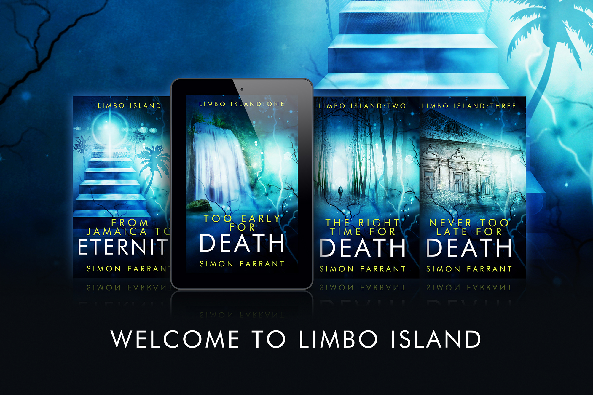 The Limbo Island trilogy is an all new series! It is in Kindle Unlimited too.  It is a contemporary fantasy, mystery, take on the afterlife.  From Jamaica to Eternity is a short story introducing the enigmatic character, The curator. It is available to buy now.   Amazon UK    Amazon US   Too Early for Death is available to order. The release date is May 5th.  Blurb:   Death can take you to the most unexpected places.   Damien Lennon finds himself on a mysterious island… and dead.  He has more questions than answers. Why? Where? How? What next?  In a place where forests hide secrets and a leader rules with an iron fist, can Damien change his destiny?  'Too Early for Death' starts a journey through the Limbo Island trilogy, a series that unravels a story of life after death, hierarchy, tragedy, jealousy and eternal love. A heartbreaking yet heartwarming adventure awaits.   Amazon UK    Amazon US